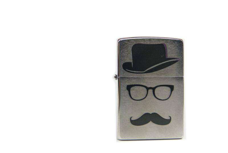 Zippo hat and mustache brushed