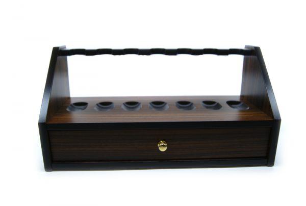 Lubinski 7 pipe rack in palissandro indiano con cassetto