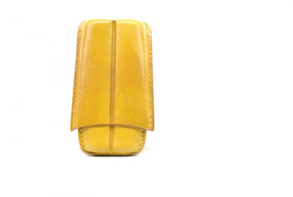 Lubinski  cigar case per 2 toscani giallo